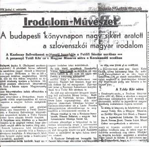 Tudósítás az 1936-os könyvhétről